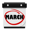 March month word wall calendar remember schedule the on a to remind you of important events during the winter and turning into Royalty Free Stock Photos