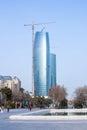 March 15, 2017, 151 Neftchilar Avenue, Baku, Azerbaijan. Construction of business center