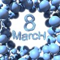 8 March symbol eight made of blue fur flying in the space and round by frame. Can be used as a decorative greeting grungy or postc