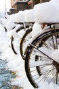 In march there were some bikes in the snow the abnormal weather in beijing Stock Photo