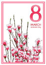 8 March Woman`s day greeting card.