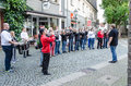 Marching band hattingen old town nrw germany october members of a chapel to open a restaurant in the old town of hattingen in Stock Photos