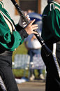 Marching Band Performer Playing Clarinet in Parade Royalty Free Stock Images