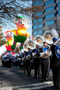 Marching band plays in atlanta christmas parade ga usa december the georgia state university as floats hover the background at the Stock Photo