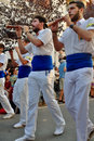 stock image of  Marching band walk in August 2015 Sitges Fiesta parade in Spain.