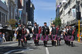 Marching pipe band dunedin new zealand february the christchurch marches towards the octagon on february in dunedin new zealand Stock Image