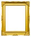 Marco de madera de oro de la imagen de la foto aislado Imagen de archivo libre de regalías
