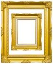 Marco de madera de oro de la imagen de la foto aislado Fotografía de archivo libre de regalías