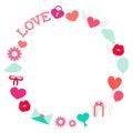 Marco de valentine day romantic love round plano Fotografía de archivo libre de regalías