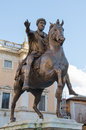 Marcus aurelius horse sculpture of the emperor in the capitol hill in rome italy Stock Photos