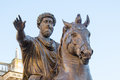 Marcus aurelius horse sculpture of the emperor in the capitol hill in rome italy Stock Image