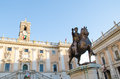Marcus aurelius horse sculpture of the emperor in the capitol hill in rome italy Stock Images
