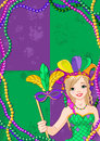 Mardi gras banner with beautiful girl holding mask Royalty Free Stock Image