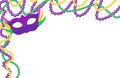 Mardi Gras beads colored frame with a mask, isolated on white background. Royalty Free Stock Photo
