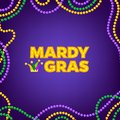 Mardi Gras carnival background with colorfull beads frame. Text with Jesters hat. Vector illustration Isolated on purple Royalty Free Stock Photo