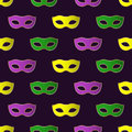 Mardi Gras Carnival seamless pattern with colorful masks. Royalty Free Stock Photo