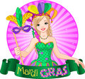 Mardi gras design of beautiful girl holding mask Stock Photo