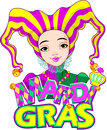 Mardi gras harlequin design lady Stock Photos