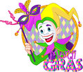 Mardi gras jester cartoon design of holding a mask Stock Photo