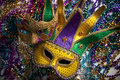 Mardi Gras Mask and Beads Stock Photo