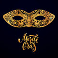 Mardi gras mask illustration. Vector golden type at dark blue background. Masquerade invitation design