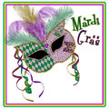 Mardi Gras Mask Square Image - Purple/gold Green Royalty Free Stock Photo