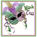 Mardi Gras Mask Square Image - Purple/gold Green Royalty Free Stock Photo