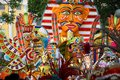 Mardi gras parade in the bahamas colorful masks and costumes on Royalty Free Stock Image