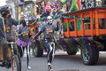Mardi gras parade people dressed in costumes in first in huntsville al Stock Photos