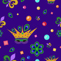Mardi gras pattern seamless with mask fleur de lis peacock feathers and beads Stock Images