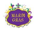 Mardi Gras poster with mask, beads, trumpet, drum, fleur de lis, jester hat, masks Royalty Free Stock Photo