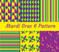 Mardi Gras seamless pattern set. Collection of digital paper, background, texture. Royalty Free Stock Photo