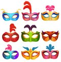 Mardi Gras Venetian handmade carnival masks. Face masks collection for masquerade party. Vector Royalty Free Stock Photo