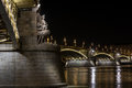 Margaret bridge budapest over danube river by night hungary Stock Images