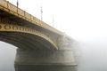 Margaret bridge budapest the in in a typical autumnal foggy day Royalty Free Stock Image