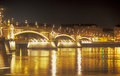 Margaret bridge at night budapest capital of hungary Stock Photos