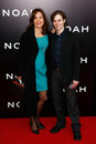 Margaret colin sam deas new york mar actress l and son attend the premiere of noah at the ziegfeld theatre on march in new york Stock Photo