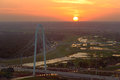Margaret Hunt Hill Bridge at Sunset, Dallas, Texas, USA Royalty Free Stock Photo