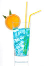 Margarita cocktail drink or blue hawaiian summer with lime with orange and straw on a white background Stock Images