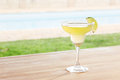 Margarita cocktail by a pool outdoors on poolside bar Royalty Free Stock Images