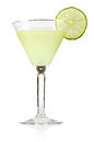 Margarita in glass with lime isolated on white background Stock Images