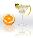 Margarita with orange on white background Stock Images