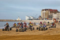 Margate uk march race of the expert class quad riders get away from the start line at speed during the qra uk margate monarch Stock Image