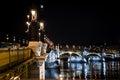 Margit bridge in budapest at night Stock Images