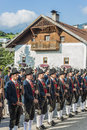 Maria ascension procession oberperfuss austria aug villagers dressed in their finest traditional costumes during along this Royalty Free Stock Photography