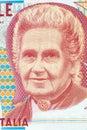 Maria Montessori portrait from Italian money