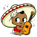 Mariachi baby girl playing the guitar vector illustration of a happy and singing Royalty Free Stock Photography