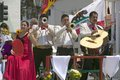 Mariachi Band playing on parade float during opening day parade down State Street, Santa Barbara, CA, Old Spanish Days Fiesta, Aug Royalty Free Stock Photo