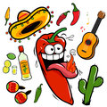 Mariachi chili pepper mexican icon collection a hot cartoon and themed illustrations a guitar tequila lime cactus peppers and Royalty Free Stock Photo