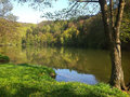 Marianske udoli in spring time brno czech republic beautiful sunny day at at the shore of lake Royalty Free Stock Photo